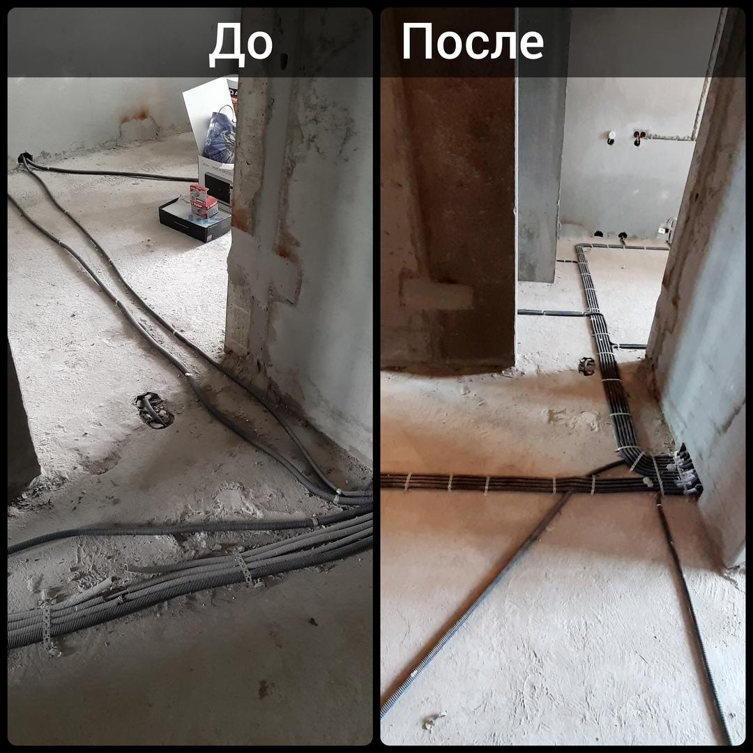 Прокладка электропроводки в однокомнатной квартире по полу по адресу город Москва, Московская улица, дом 8 корпус 1